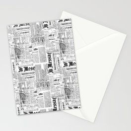 Black And White Collage Of Grunge Newspaper Fragments Stationery Cards