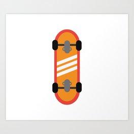 Orange Skateboard Art Print