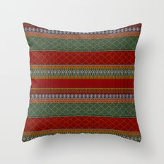 Traditional Romanian embroidery pixel Throw Pillow
