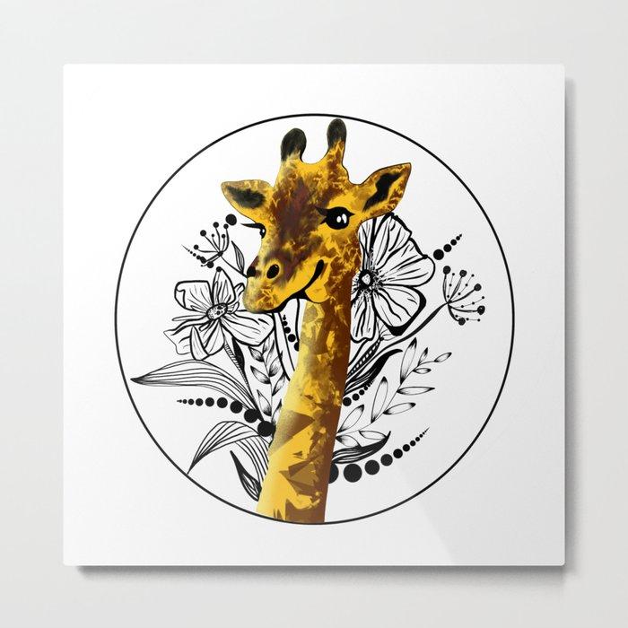 Giraffe illustration Metal Print
