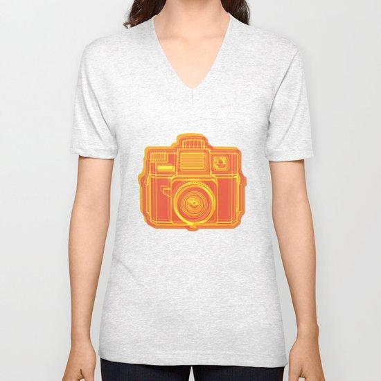 I Still Shoot Film Holga Logo - Yellow & Red Unisex V-Neck