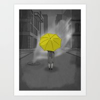 himym Art Prints featuring The Girl With The Yellow Umbrella - HIMYM by dbarroso