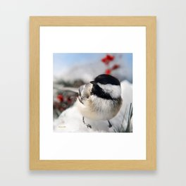 Christmas Chickadee Framed Art Print