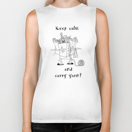 Keep Calm and Carry Yarn Biker Tank