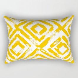 Amber Yellow Geometric Print Rectangular Pillow