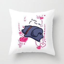 lazy cat chill Heart Throw Pillow