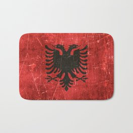 Vintage Aged and Scratched Albanian Flag Bath Mat