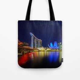 Helix bridge & Marina bay sands at night Tote Bag