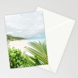 Paradise beach at La Digue Seychelles Stationery Cards