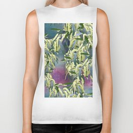 Wattle blooms in an abstract landscape Biker Tank