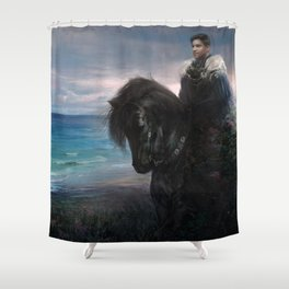 Knight on black Friesian horse Shower Curtain