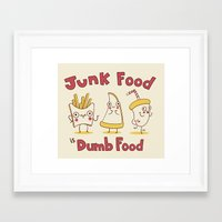 junk food Framed Art Prints featuring Junk food is dumb food by penguinline