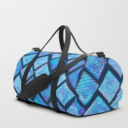 Blue Watercolor Tiles with White Texture Duffle Bag