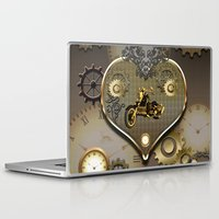 motorcycle Laptop & iPad Skins featuring Steampunk, motorcycle  by nicky2342
