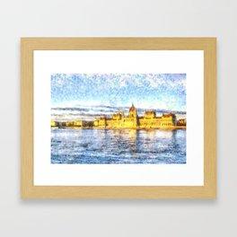 Budapest River Danube Sunset Art Framed Art Print