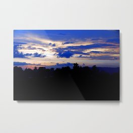 Colorful Tropical Sunset Nightfall Forest Metal Print