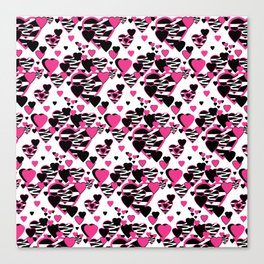 Hot Pink Zebra Animal Print Geometric Hearts Canvas Print