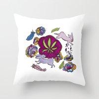 cannabis Throw Pillows featuring Cannabis Bunnies by Ri 13