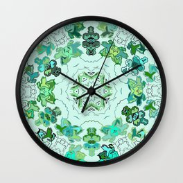 Green on Green Leaves of a Circle Design at Greenbeemee Wall Clock