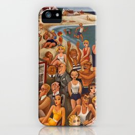 Old Hollywood Icons at Malibu Beach, California portrait painting by Miguel Covarrubias iPhone Case
