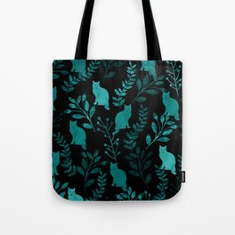 Watercolor Floral and Cat IV Tote Bag