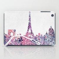 paris map iPad Cases featuring Paris Skyline + Map #1 by Map Map Maps