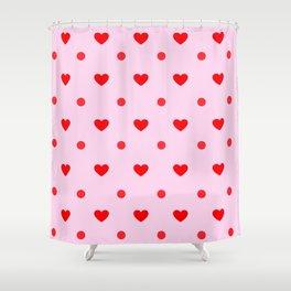 Pink & Red Heart Polka Dot Print Shower Curtain