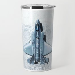 F35 Top View Hatched Travel Mug