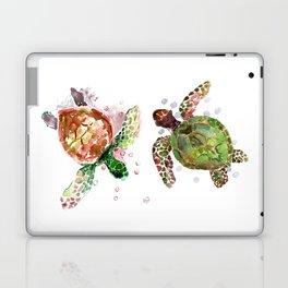 Turtles, Olive Green Cherry Colored Sea Turtles, turtle Laptop & iPad Skin