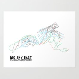 Big Sky, MT - Eastern Exposure - Minimalist Trail Map Art Print
