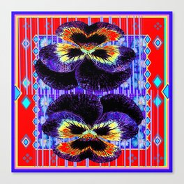Red Western Style Double Purple & Gold Pansy Canvas Print
