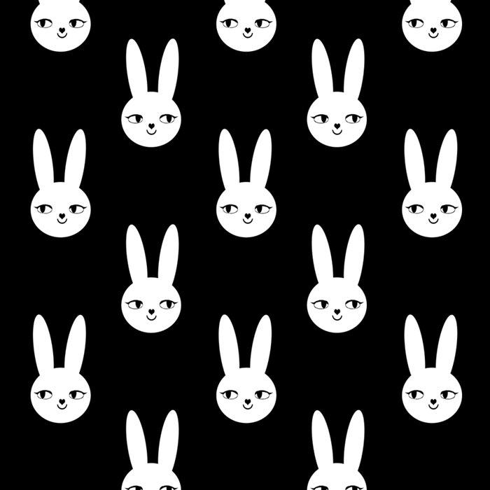 Bunny Rabbit black and white spring cute character illustration nursery kids minimal floral crown Leggings