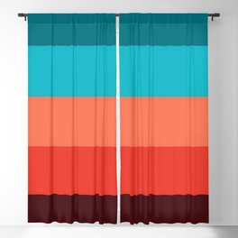 Exotic bright colorful Bohemian Chic teal burgundy Turquoise Orange Stripes Blackout Curtain