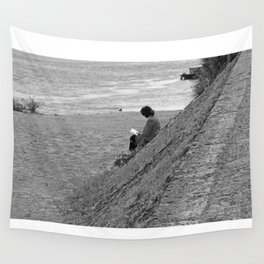 Woman Reading on Hill in France - Black and White Wall Tapestry