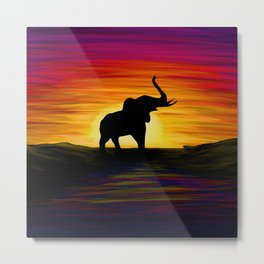 Elephant Sunset Metal Print