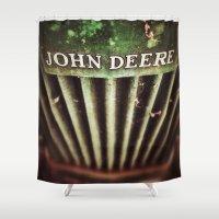 john green Shower Curtains featuring John Deere by Justin Alan Casey