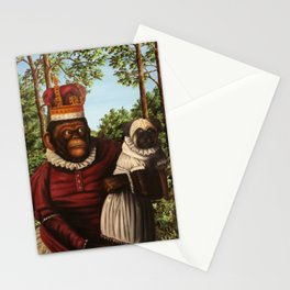 Monkey Queen with Pug Baby Stationery Cards