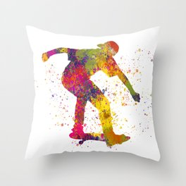 Boy on skateboard illustrated in watercolor 02 Throw Pillow