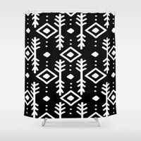 nordic Shower Curtains featuring BLACK NORDIC by Nika