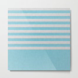 Sky blue and gray color block and stripes Metal Print