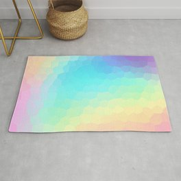 Pastel Rainbow Gradient With Stained Glass Effect Rug