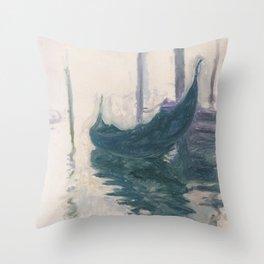 Claude Monet, Gondola in Venice 1908 Throw Pillow