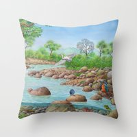 river Throw Pillows featuring  river  by Amy Fan