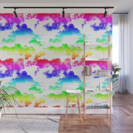 Rainbow Clouds Pattern on White Wall Mural