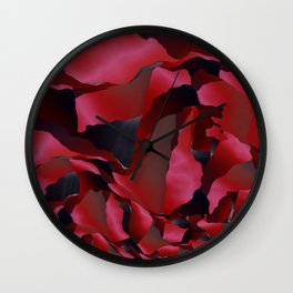 Red frayed abstraction Wall Clock