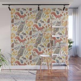 Autumn Wildlife Pattern Neutral Wall Mural