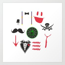 Color funny men's retro vector set Art Print
