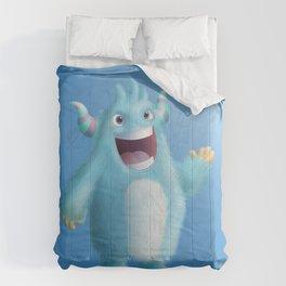 Cute little blue singer monster - Custom T Shirt Comforters