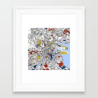 dublin Framed Art Prints featuring Dublin by Mondrian Maps