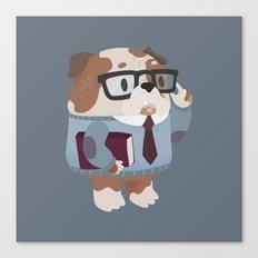 Smart Bulldog Character Canvas Print